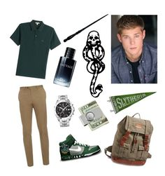 """Slytherin Boy"" by fashionablehottie25 on Polyvore featuring Brioni, Burberry, TAG Heuer, Lucky Brand, American Coin Treasures, Christian Dior, NIKE, mark., men's fashion and menswear"