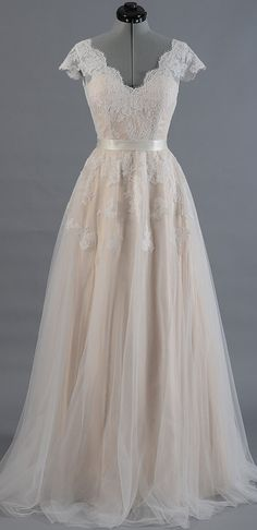Champagne Prom Dress, Wedding Dress Cheap, Lace Prom Dress, Wedding Dress A-Line, Wedding Dress Long Prom Dresses Long Satin Tulle, Tulle Lace, Satin Sash, Lace Bodice, Lace Chiffon, Pleated Bodice, Fitted Bodice, Chiffon Dress, Lace Wedding Dress With Sleeves