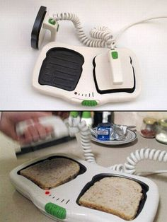 Very weird toaster! 20 Cool Gizmos and Gadgets. Geek Gadgets, Gadgets And Gizmos, Cool Gadgets, Technology Gadgets, Amazing Gadgets, Unique Gadgets, Electronics Gadgets, Cool Toasters, Inventions Sympas