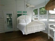 Screened in porch with a hanging bed! I would never leave. Back Porches, Screened In Porch, Enclosed Porches, Amish Furniture, Diy Swing, Swing Beds, Porch Bed, Porch Swings, Bed Swings