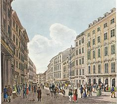 Vienna ca. The Kohlmarkt. Artaria, Beethoven's publisher, is on the right. Popular Music, Salzburg, Old Buildings, For Everyone, Vienna, Austria, Street View, World, Composers