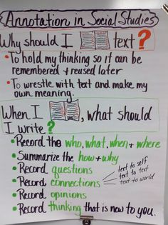 """Annotation"" Anchor Chart for Social Studies"