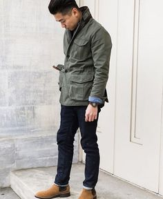 Ruggedly refined with a casual touch. Preppy Style, Smart Casual, Military Jacket, Field Jackets, Bomber Jacket, Menswear, Vogue, Nyc, Mens Fashion