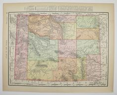 Wyoming Map Utah 1901 Vintage Map, Unique Office Decor Gift, Antique Wall Art Map, Western State Map available from OldMapsandPrints on Etsy