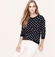 Heart Print Sweatshirt - In super soft baby French cotton terry, we heart this femme go-to. Crew neck. Long raglan sleeves. Ribbed banded neckline, cuffs and hem.