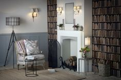 We love the grey tones of this library scene, beautifully paired with the #JimLawrence range of #silver finishes.
