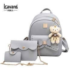 Cheap backpack medium, Buy Quality bag arm directly from China backpack men Suppliers: Kavard Fashion Backpack Women Pu Leather Back Pack Famous Brand School Bags for Girls sac a dos femme with Purse and Bear 2017 Cute Mini Backpacks, Stylish Backpacks, Girl Backpacks, School Backpacks, Lace Backpack, Backpack Bags, Leather Backpack, Pu Leather, Set Fashion