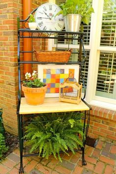 Baker's rack becomes an outdoor bar/potting bench/server.- Plan to do this soon.