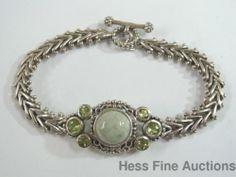 Dazzling Green Peridot Jade Sterling Silver Bracelet Larger Wrist Easy Closure