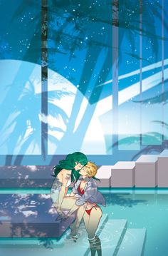 Sailor Moon - Haruka Tenou x Michiru Kaiou - HaruMichi Sailor Uranus, Sailor Neptune, Sailor Moon Art, Yuri, Anime Fanfiction, First Animation, Sailor Moon Character, Sailor Scouts, New Print