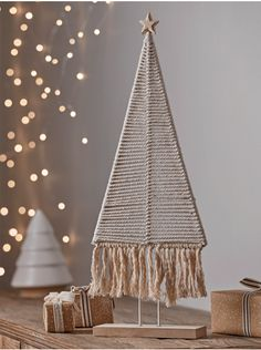 Our poised and simple handmade woven tree is a seasonal take on the continuing trend for macramé detailing. Here Scandi style takes a relaxed form with boho elements and a textured surface, bringing a sense of Christmas comfort to the calm of a neutral Pre Lit Christmas Tree, Christmas Trends, Christmas Inspiration, Christmas 2019, Christmas Tree Decorations, Christmas Crafts, Christmas Ornaments, Holiday Decor, Recycled Christmas Tree