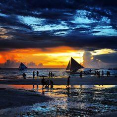 Boracay Island, Malay, Philippines — by Couple Of Travel Junkies. Sunset in beautiful #boracay