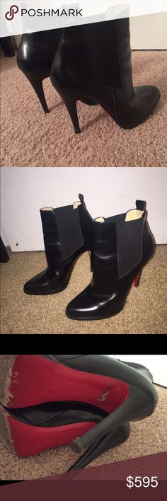 Christian louboutin booties Absolutely love these but do not get enough wear out of them. In good condition obvious wear on red soles and tiny marks on the heel. Authentic. Christian louboutin runs small I am a 7-7.5 and these fit great. Make an offer Christian Louboutin Shoes Ankle Boots & Booties