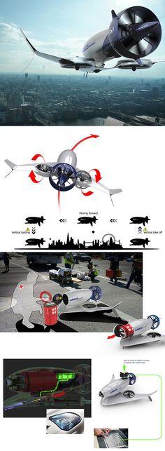 Sleek Airbus Drone was Designed fo. Sleek Airbus Drone was Designed for Medical Emergencies, Can Fly Autonomously Futuristic Cars, Futuristic Design, Aviation Engineering, Ar Drone, Military Guns, Emergency Response, Aircraft Design, Cool Inventions, Retro Futurism