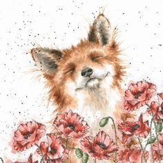 'Poppy Field' card – – Art 'Poppy Field' card -<br> -'Poppy Field' card -'Poppy Field' card -See it Animal Paintings, Animal Drawings, Art Drawings, Watercolor Poppies, Watercolor Paintings, Poppies Art, Poppies Tattoo, Watercolor Artists, Red Fox