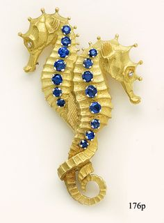 Sapphire and Gold Double Seahorse Brooch by Tiffany & Co France at Nelson Rarities,Inc. Portland, Maine