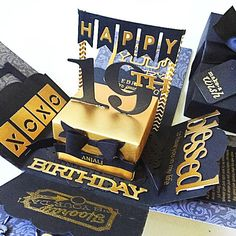 """A cute cheerful and sweet box card for birthday or wedding using  cardstock, pattern paper, pom pom, die cut, stamp, handmade flower etc.It measures 4 inches by 4 inches. It can be custom colors and theme.This listing consist :- black and gold theme- a box with age in the center - 2 layers- 1 messages- 1 photo Chat to offer me if you need any customisation of cards, tags, album :)Thank you for viewing my listing!To search for all my Boxcard design: keyword :""""mypapercraftingboxcard"""" Tags…"""
