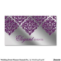 Wedding Event Planner Damask Purple Sparkle Silver Double-Sided Standard Business Cards (Pack Of 100)