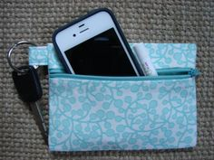 Keychain Wallet in Aqua and White by stitch248 on Etsy, $12.00