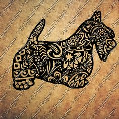 Zentangle Scottish Terrier SVG, dxf, fcm, eps, ai, png cut file for Silhouette…