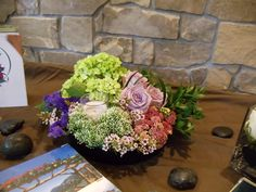 Low centerpiece with candle