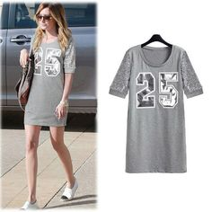 Womens Short Sleeve Letter Decorated Stylish Popular Summer Dress - Dresses find more women fashion ideas on www.misspool.com