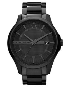 A|X Armani Exchange Watch, Men's Black Ion Plated Stainless Steel Bracelet 46mm AX2104 - All Watches - Jewelry & Watches - Macy's