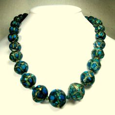 Turquoise n Brass Graduated Bead Necklace by VintageStarrBeads