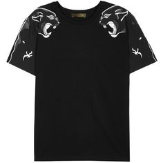 Valentino Black panther-print cotton T-shirt ($440) ❤ liked on Polyvore featuring men's fashion, men's clothing, men's shirts, men's t-shirts, mens patterned t shirts, mens cotton shirts, mens cotton t shirts, mens patterned shirts and mens print shirts
