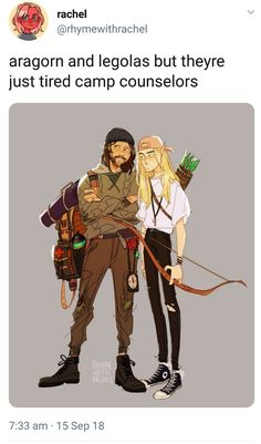 Aragorn and legolas but theyre just tired camp counselors - iFunny :) Inu Yasha, O Hobbit, J. R. R. Tolkien, Camp Counselor, Funny Memes, Hilarious, Into The West, Fandoms, Blue Exorcist