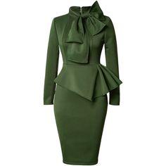 Rotita Peplum Waist Bowknot Embellished Army Green Dress (£26) ❤ liked on Polyvore featuring dresses, army green, peplum dress, sheath dress, olive green dress, green long sleeve dress and cotton midi dress