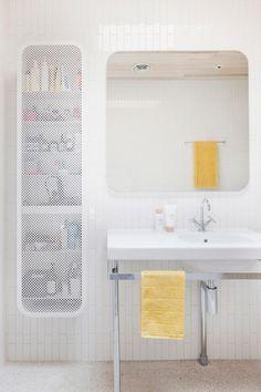 mesh screened storage unit by Clare Cousins Architect Australian Interior Design, Dream Bathrooms, Yellow Interior, House Design, Bathroom Inspiration, Interior Deco, Bathroom Style, Interior Design Awards, Bathroom Design