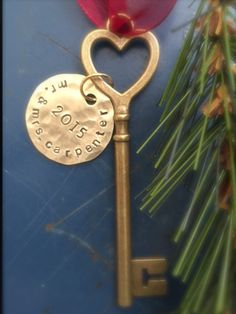 Skeleton key Key ornament First Christmas by ancypants on Etsy