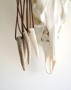 Antler Horn Necklace - antler tip - FAUX suede cord - unisex - men - Antler Jewelry - gift under 25