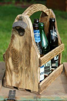 Wooden Beer Caddy Wood Beer Box Carrier 6 Pack Beer Tote Caddy Boottle Opener Handmade Gift Hand Holder by SlawekTreasures on Etsy
