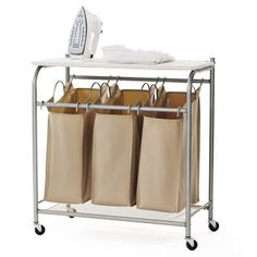 laundry cart with ironing board wheeled dirty clothes laundry hamper