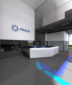 Signs on the floor  Budowa modułowa komisariatu policji: Archimed, Warszawa