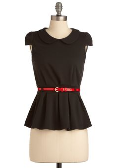 Peplum Squad Top - Black, Red, Buckles, Peter Pan Collar, Pleats, Cap Sleeves, Vintage Inspired, Mid-length, Solid, Work, 60s