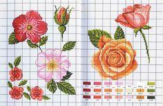 Lindas flores para bordar | Gráficos de Ponto Cruz