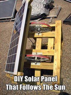DIY Solar Panel That Follows The Sun. Following the sun's path across the sky raises efficiency by 30-50%. Improve your solar setup today. #diysolarpanel #solarpanel #homesteading