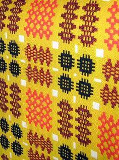 yellow orange black welsh blanket. Great pattern