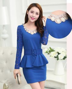 Women's #blue lace cotton design skirt #dress, 2 look in 1 design, hollow chain link fence, tie / belt, round neck, long-sleeved