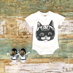 Minti baby 'hero cat' onesie & classic Converse high tops. Current season Minti is now on sale, up to 50% off!   www.tinystyle.com.au   #minti #converse #toddlershoes #tinystyle