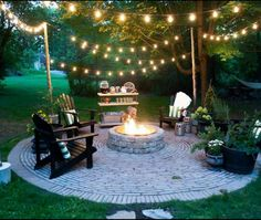 Love everything about this, but can we talk about the circular stonework, the string lights, the ice tea cart and the adirondacks!? Adorable. Pergola Ideas, Pergola Patio, Backyard Patio, Backyard Seating, Firepit Ideas, Backyard Ideas, Patio Ideas, Backyard Retreat, Garden Ideas