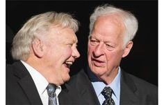 March 1, 2013 | DENNIS HULL shares a laugh with GORDIE HOWE before Howe's 85th birthday celebration prior to the Vancouver Giants game, Vancouver, B.C. Howe turns 85 on March 31, 2013. | photo by Gerry Kahrmann, PNG