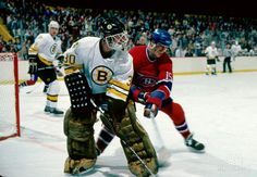 Rivalry - Bruins Bill Randford looks to clear the puck against the HABS Ryan Smith. Boston Bruins Goalies, Dont Poke The Bear, Goalie Mask, Boston Sports, Ice Hockey, Montreal, Nhl, Cool Designs, Masks