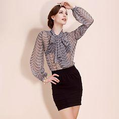 TS Lace Print Chiffon Bow Lantern Sleeve Blouse Shirt – US$ 39.99