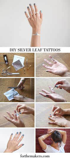 Make your own metallic tattoos with silver leaf or gold leaf!