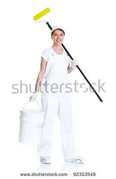 Painter woman. Isolated on white background.