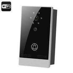 Wi-Fi Video Door Intercom - 1/4 Inch CMOS, PIR Motion Detection, Night Vision, Android + iOS App